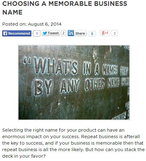 choosing a memorable business name