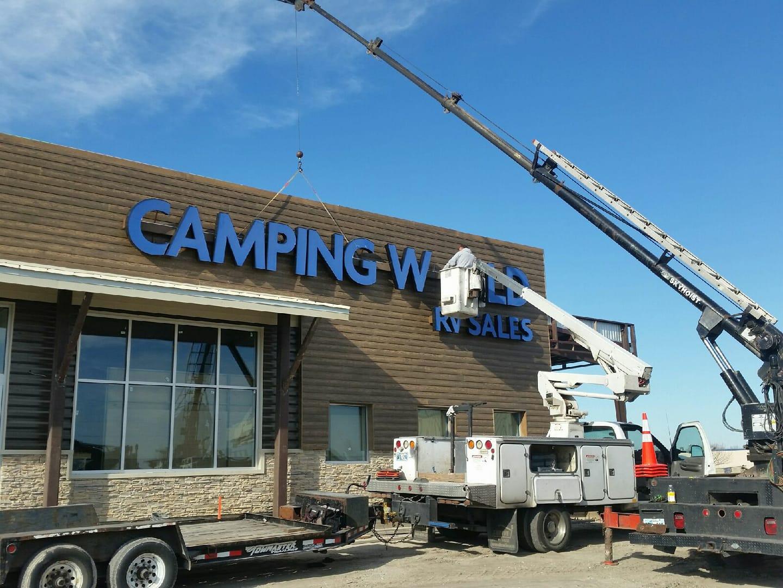 Camping World Sign Installation